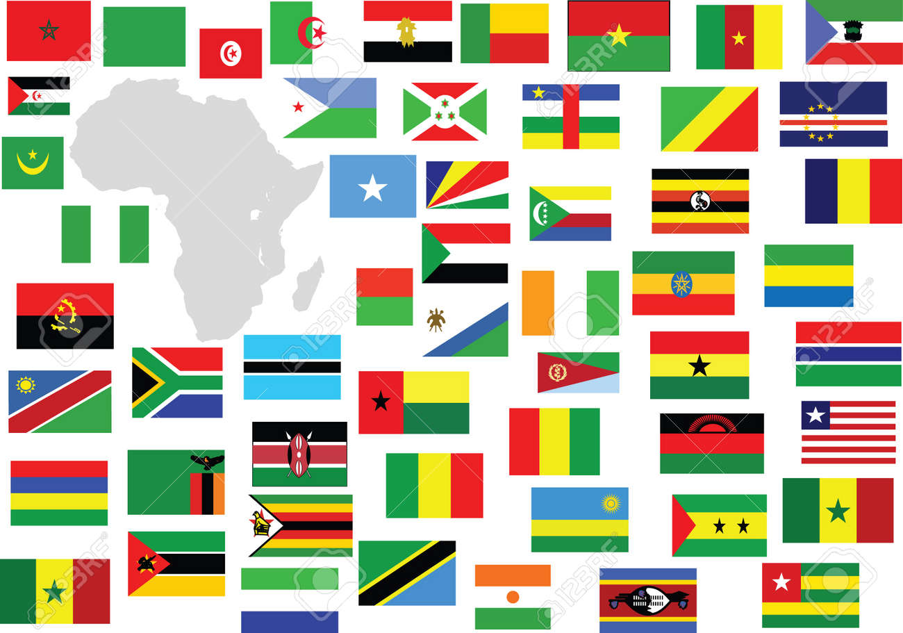 Map Of Africa With Flags.Africa Flags And Map Royalty Free Cliparts Vectors And Stock