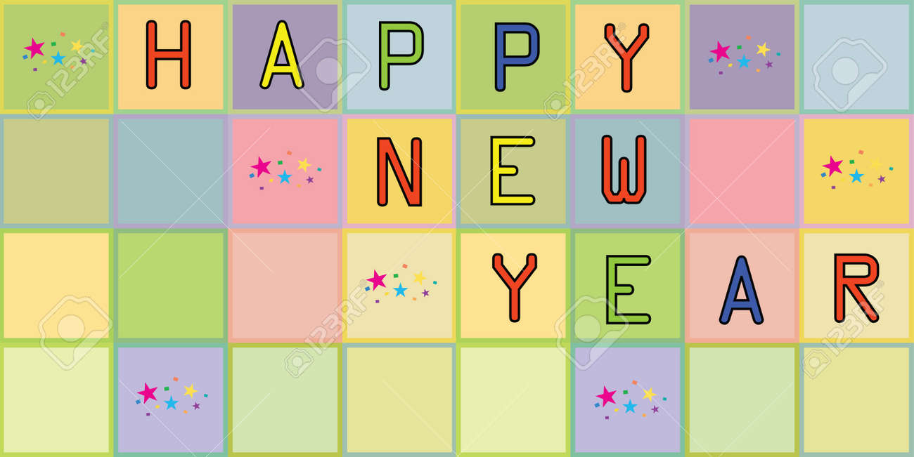Happy new year on the colored background Stock Vector - 16313554