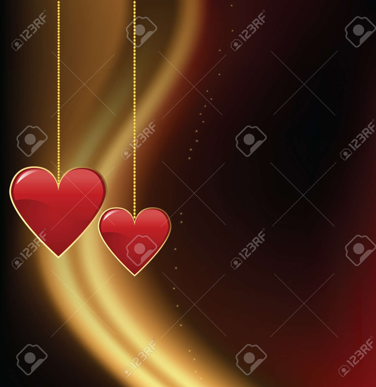 Valentine day two red hearts with dark background Stock Vector - 17627151