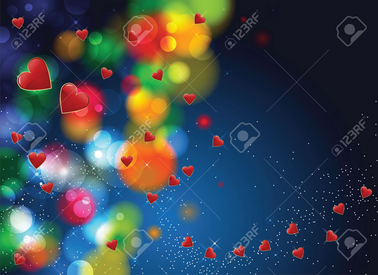 Valentine day red herats flying with colors spotlights and blue background Stock Vector - 17627173