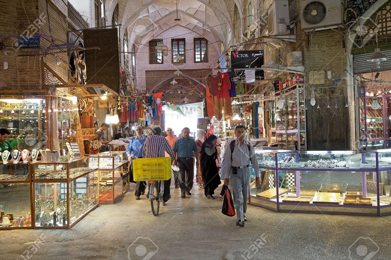 Iranian people at the bazaar of Isfahan, Iran  The bazaar is