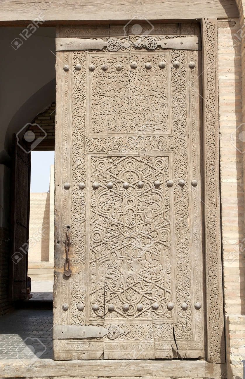 Details of the door at the Kunya Ark Citadel portal at the Itchan Kala Khiva & Details Of The Door At The Kunya Ark Citadel Portal At The Itchan ...