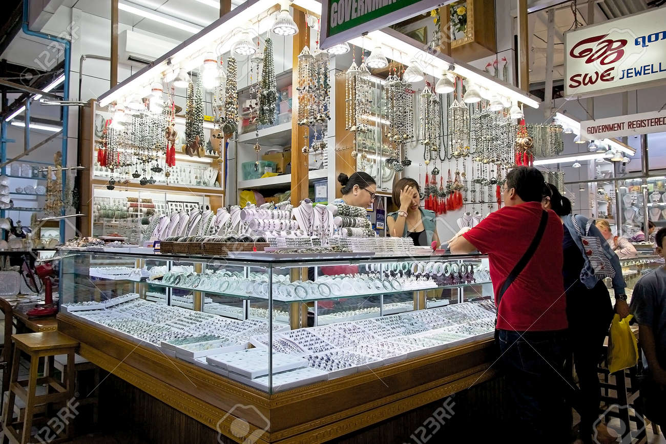 Vendors And Customers At The Jewellery Shop In The Bogyoke Aung