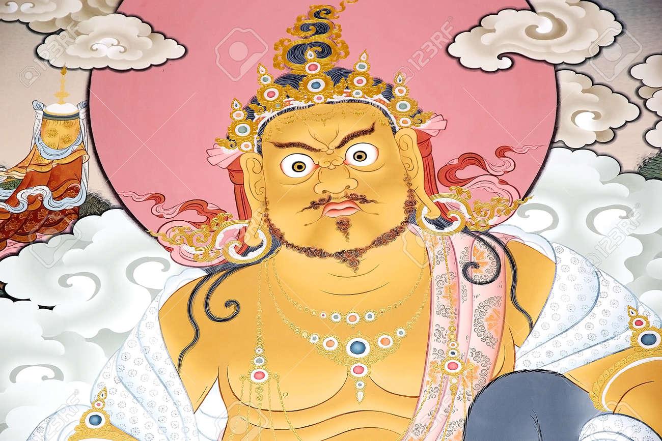 Tibetan Buddhist Wall Painting At The Buddha Dordenma, Thimphu ...
