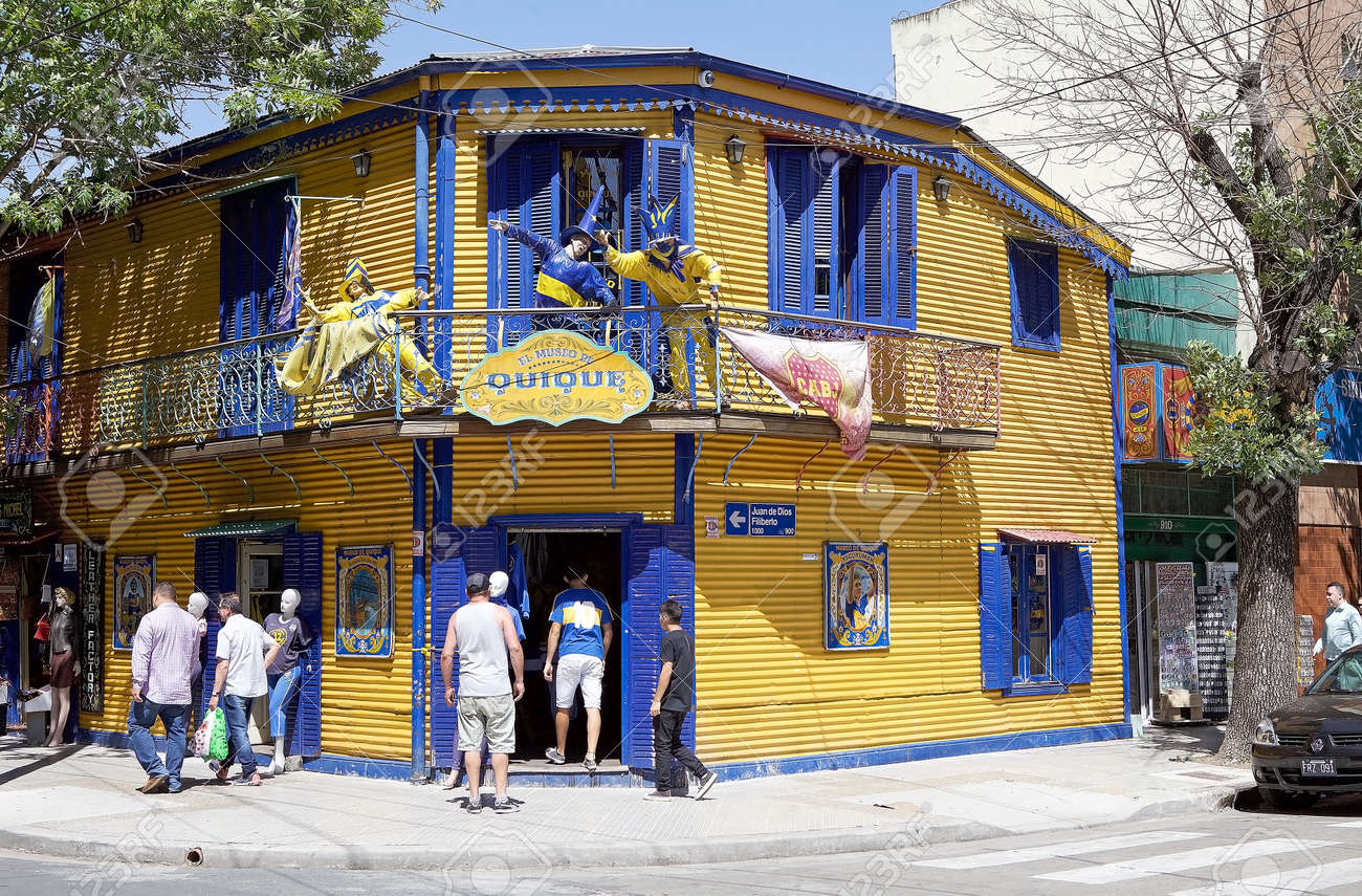 People Along The Street In La Boca In Buenos Aires Argentina