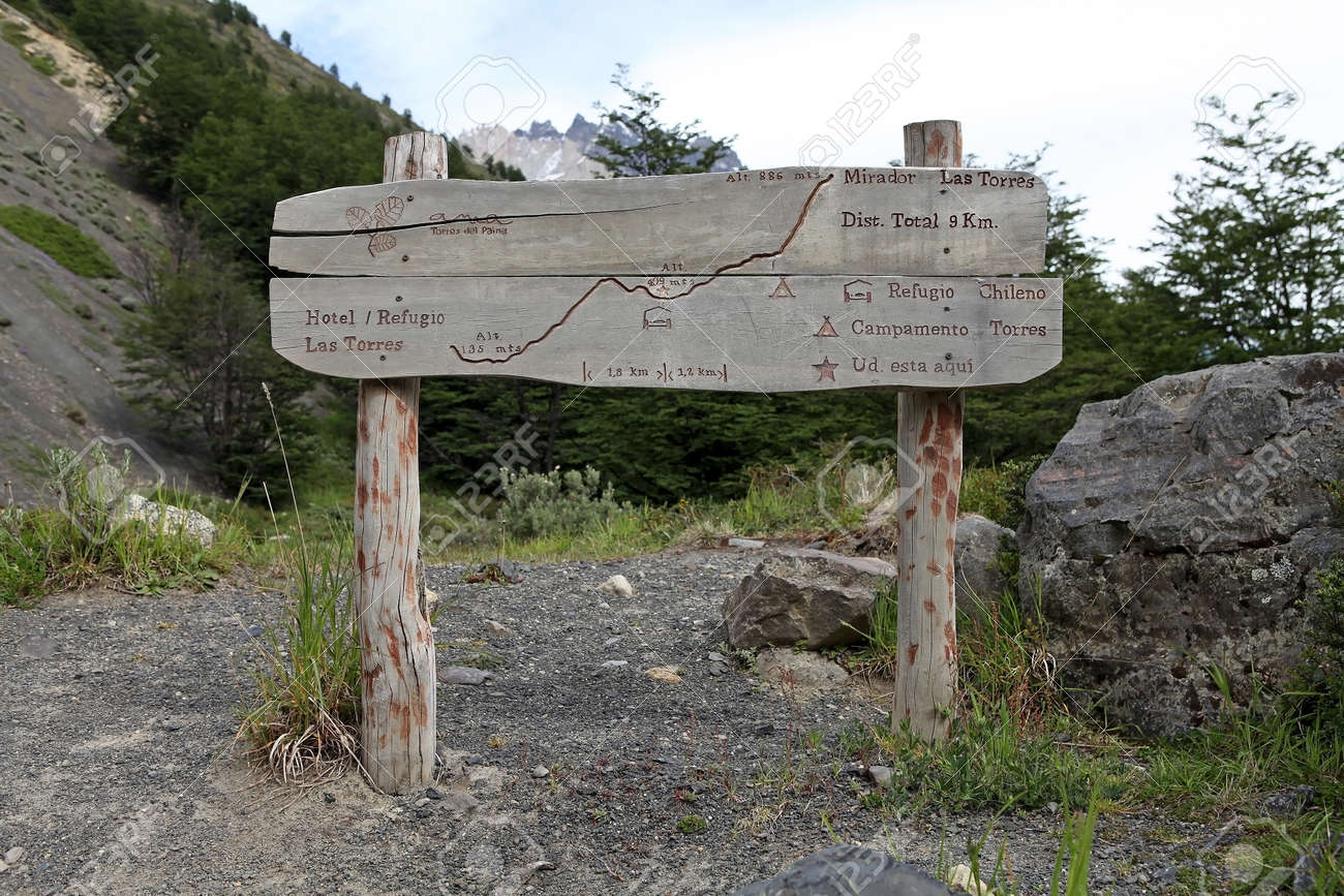 Map Of The Trail To Torres Del Paine At The Torres Del Paine