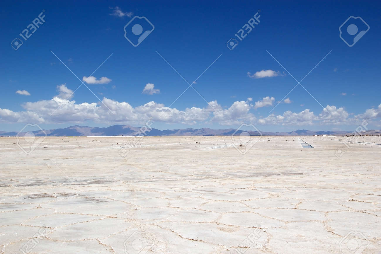 Salinas GRandes in north west part of Argentina in the provinces of Salta and Jujuy at an average altitude of 3450 meters above sea level and having an area of about 212 sq km - 131466156