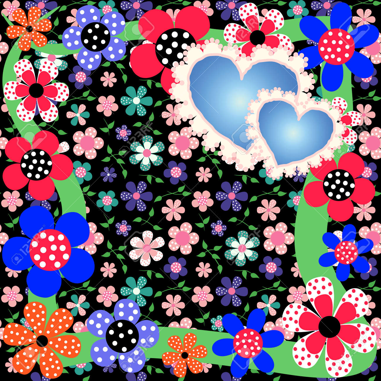 Bright romantic floral background with pretty flowers and hearts bright romantic floral background with pretty flowers and hearts this image can be used for mightylinksfo