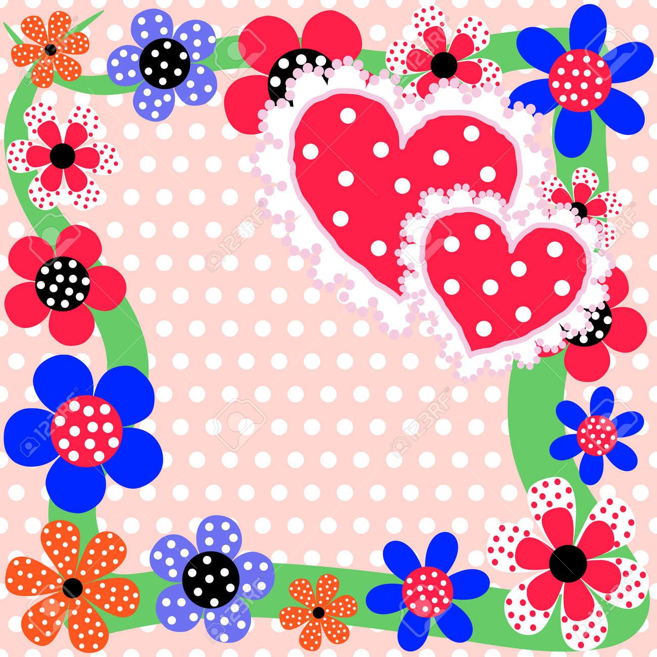 Fondo Floral Romántico Brillante Con Flores Y Corazones Bonitos