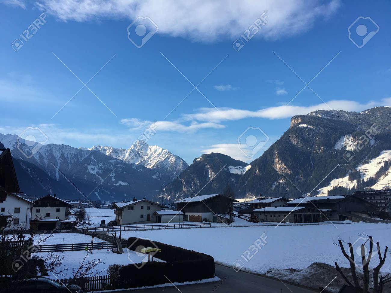 Mountain Winter Sun Sky Clouds Snow Austria Trees