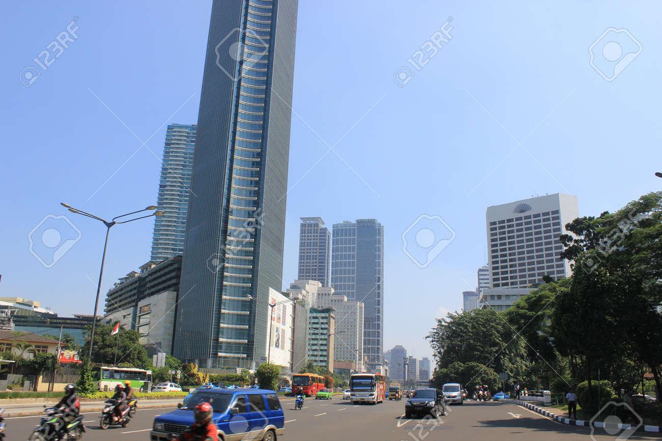 Jakarta, Indonesia, 27 March 2012 - Traffic on the main road Jakarta. Stock Photo - 12848833
