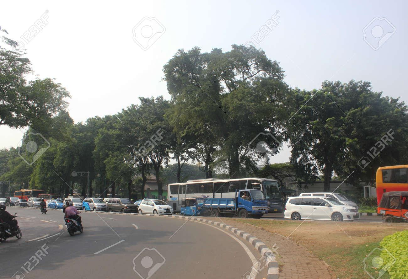 Jakarta, Indonesia, 12 July 2012. Traffic jam in Central Jakarta Stock Photo - 14418658