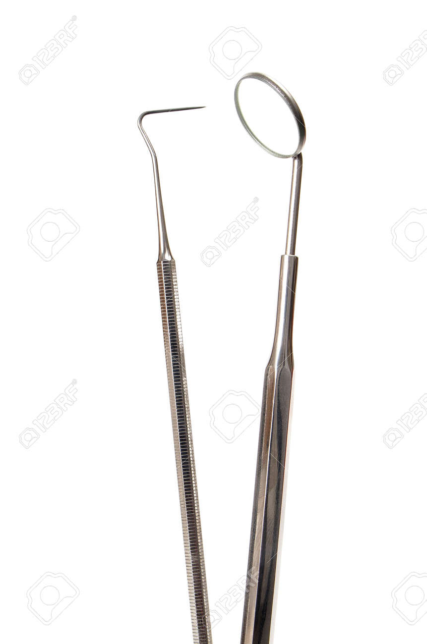 Two dental tools isolated on white background Stock Photo - 13966456