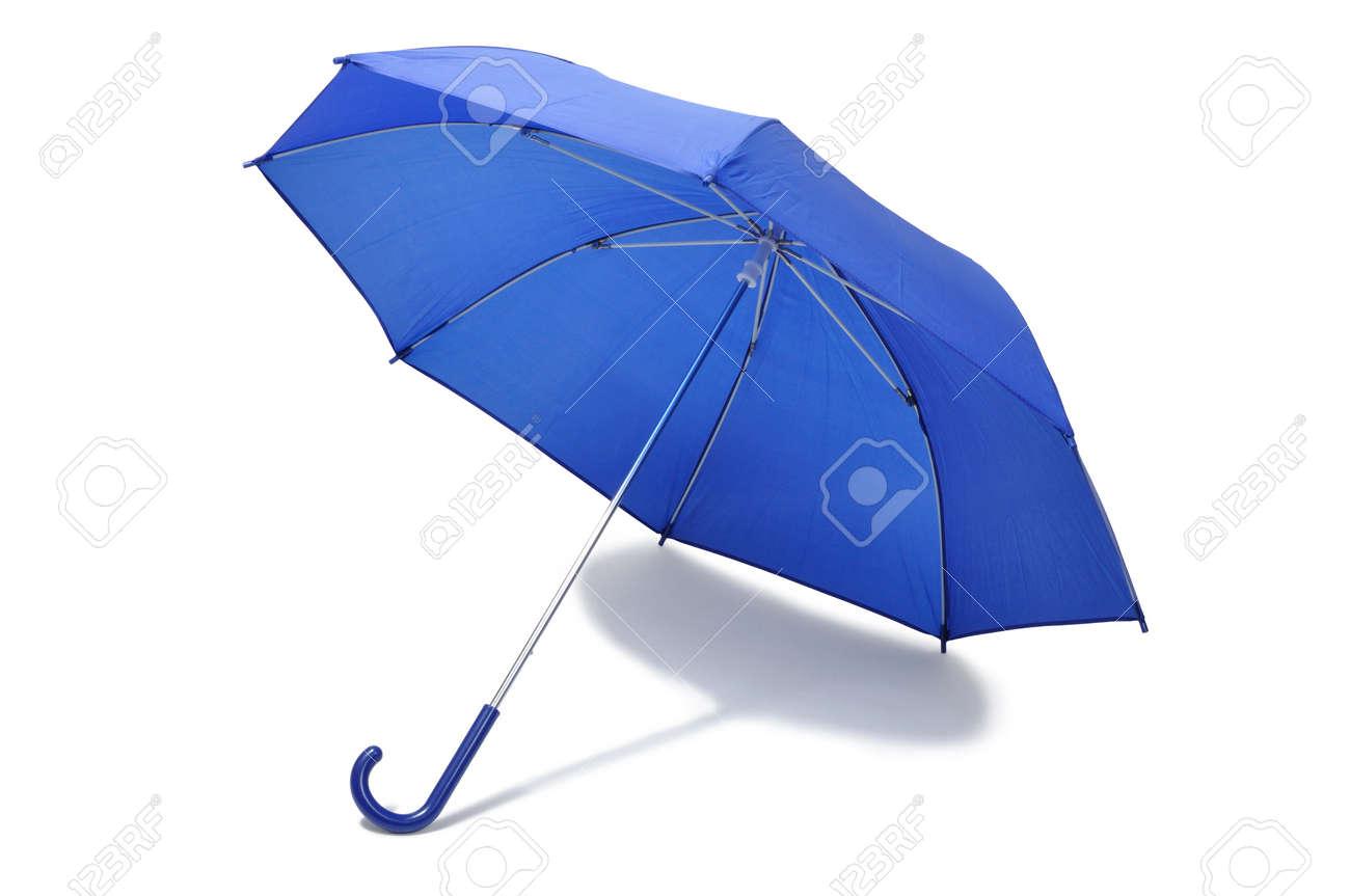 Open blue umbrella isolated on white background Stock Photo - 14410670