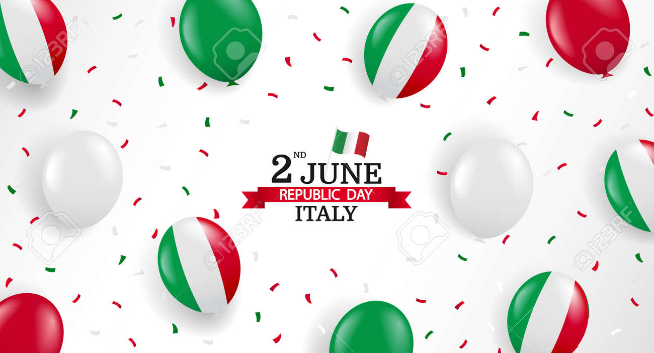 Vector Illustration of Republic Day Italy. Background with balloons and confetti. - 168191065