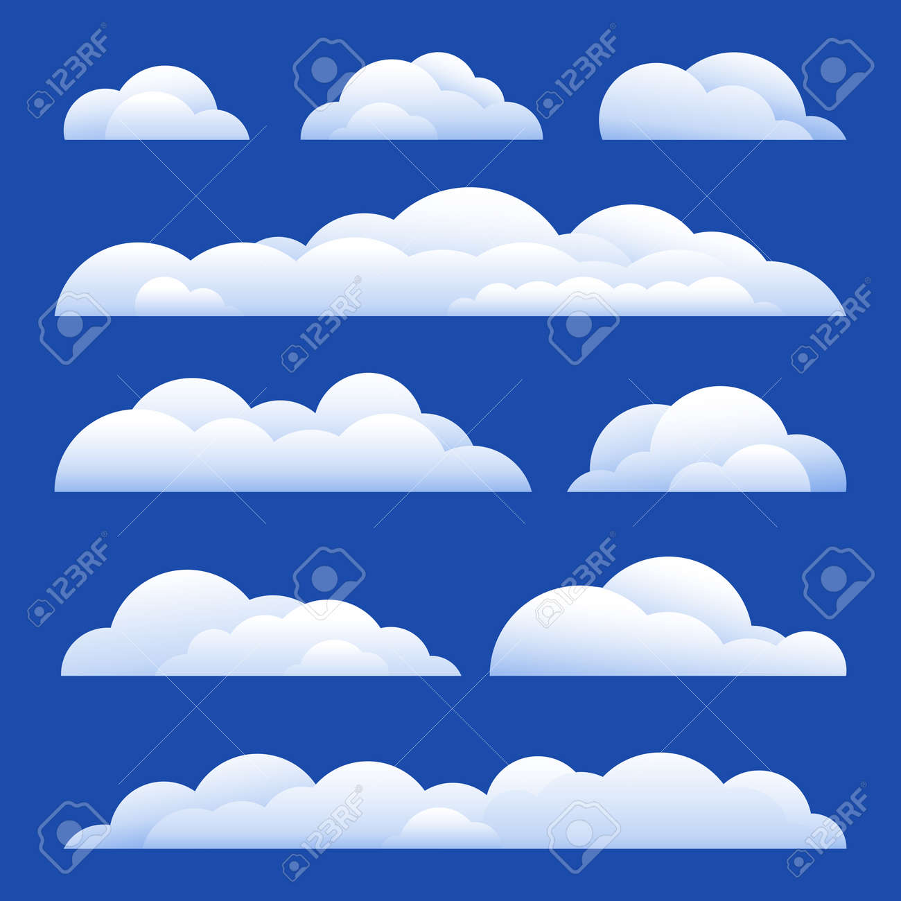 Vector Illustration. Set of clouds isolated on background - 169208437
