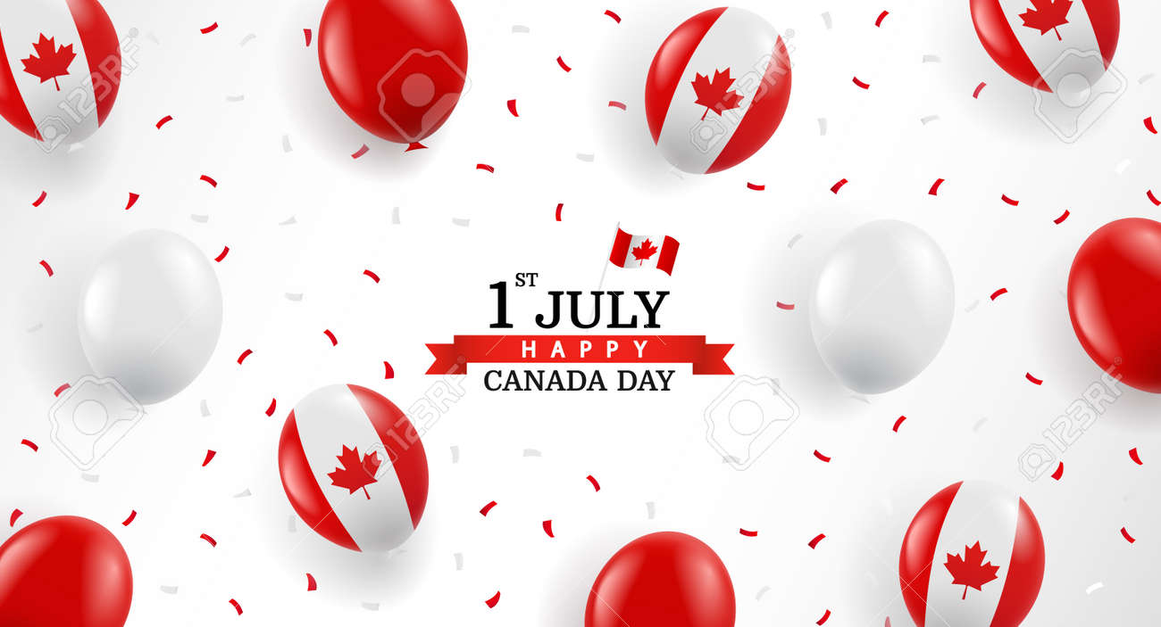 Vector Illustration of Canada day. Background with balloons and confetti. - 169208438