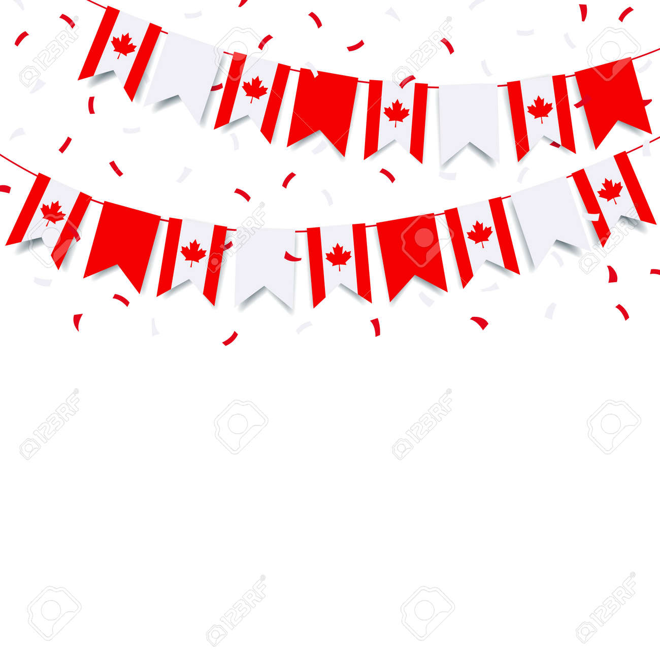 Vector Illustration of Canada day. Garland with the flag of Canada on a white background. - 169208494