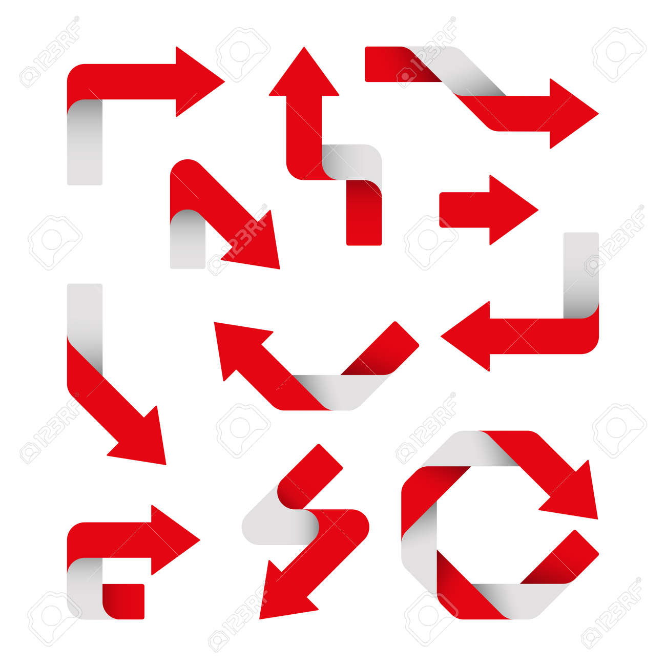 Vector Illustration. Set of red arrows are isolated. - 169208625