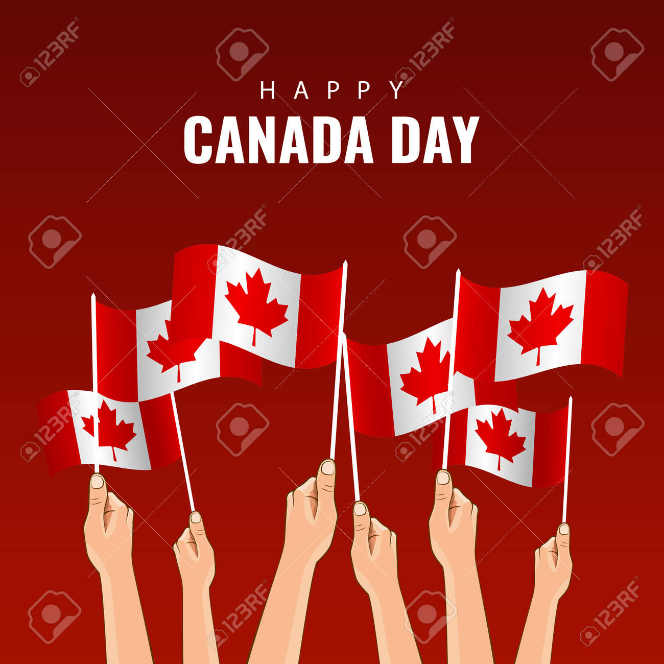 Vector Illustration of Canada day. Hands with flags of Canada - 169208628