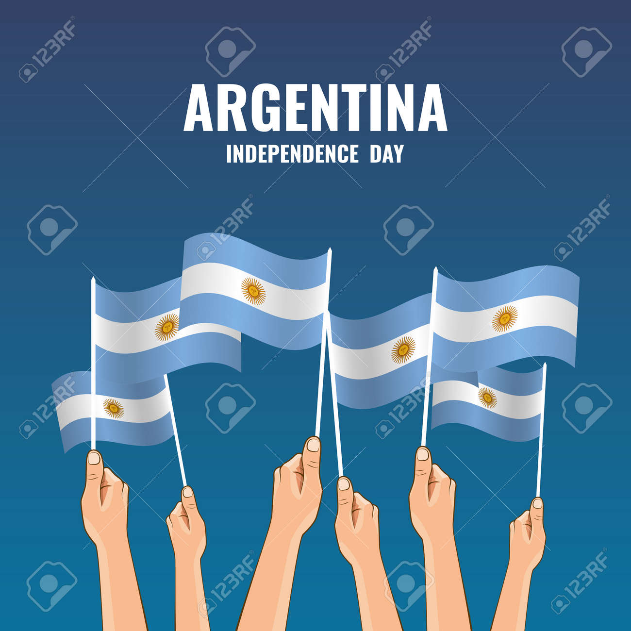 Vector Illustration of Independence Day of Argentina. Hands with flags of Argentina - 169318182
