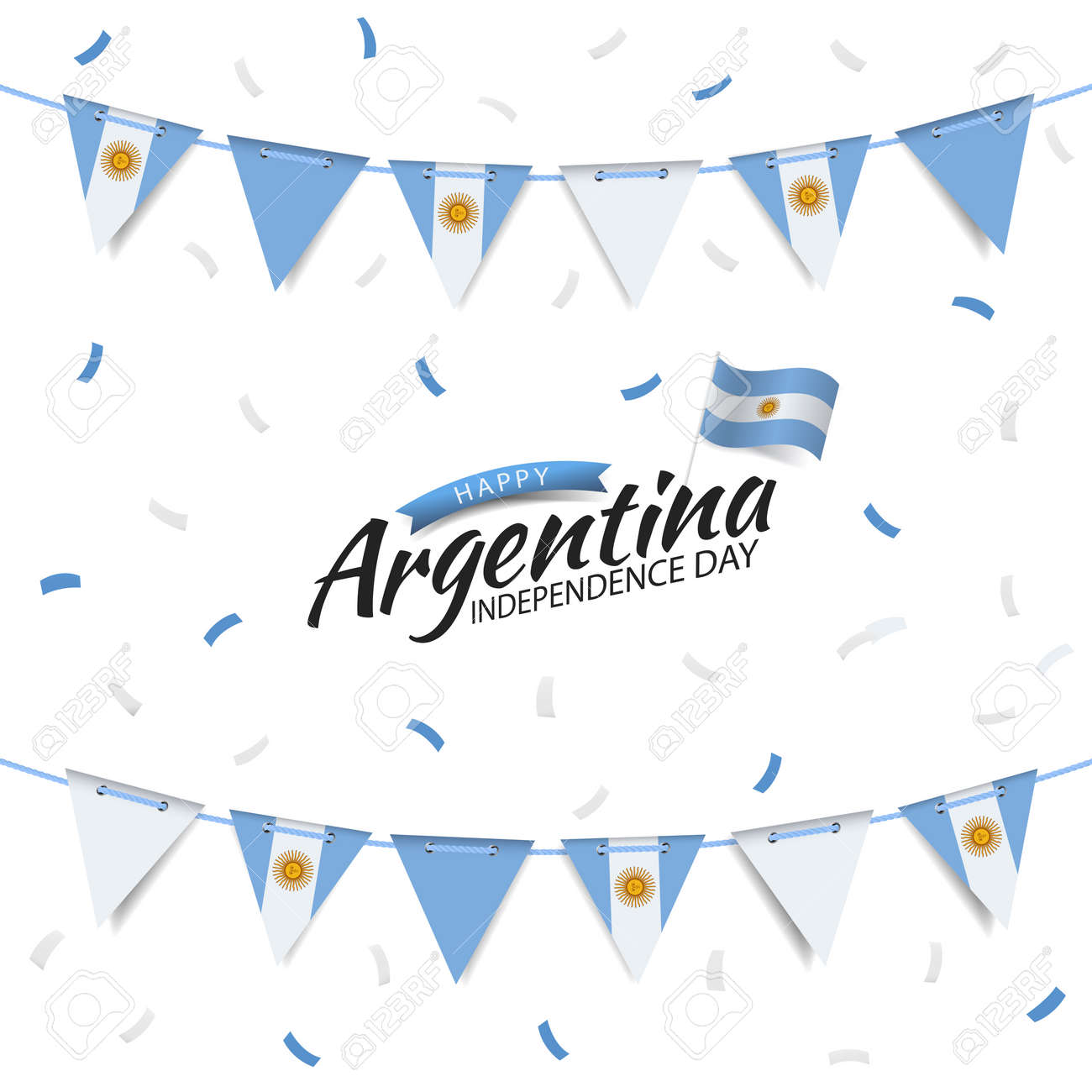 Vector Illustration of Independence Day of Argentina. Garland with the flag of Argentina on a white background. - 169318183
