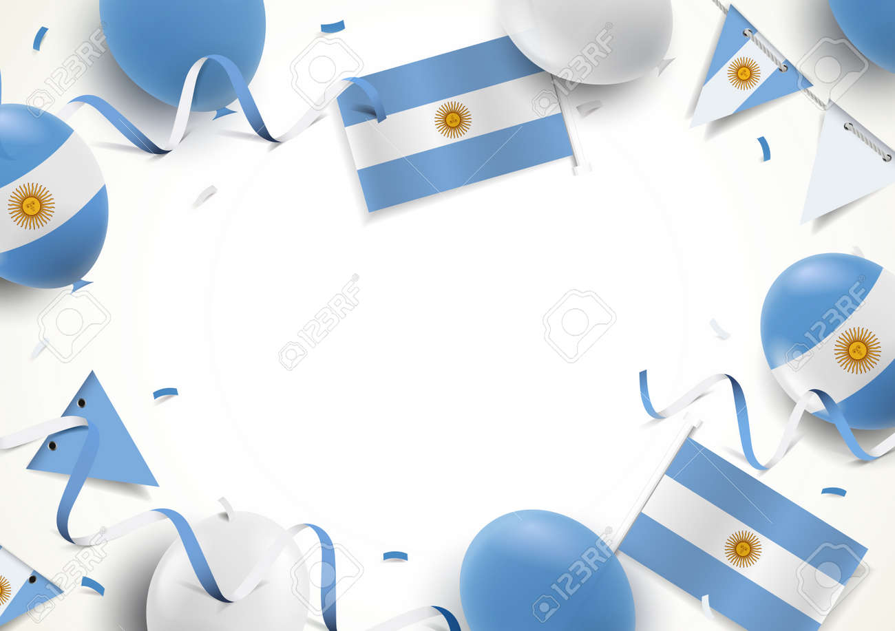 Vector Illustration of Independence Day of Argentina. Background with balloons, flags - 169318184