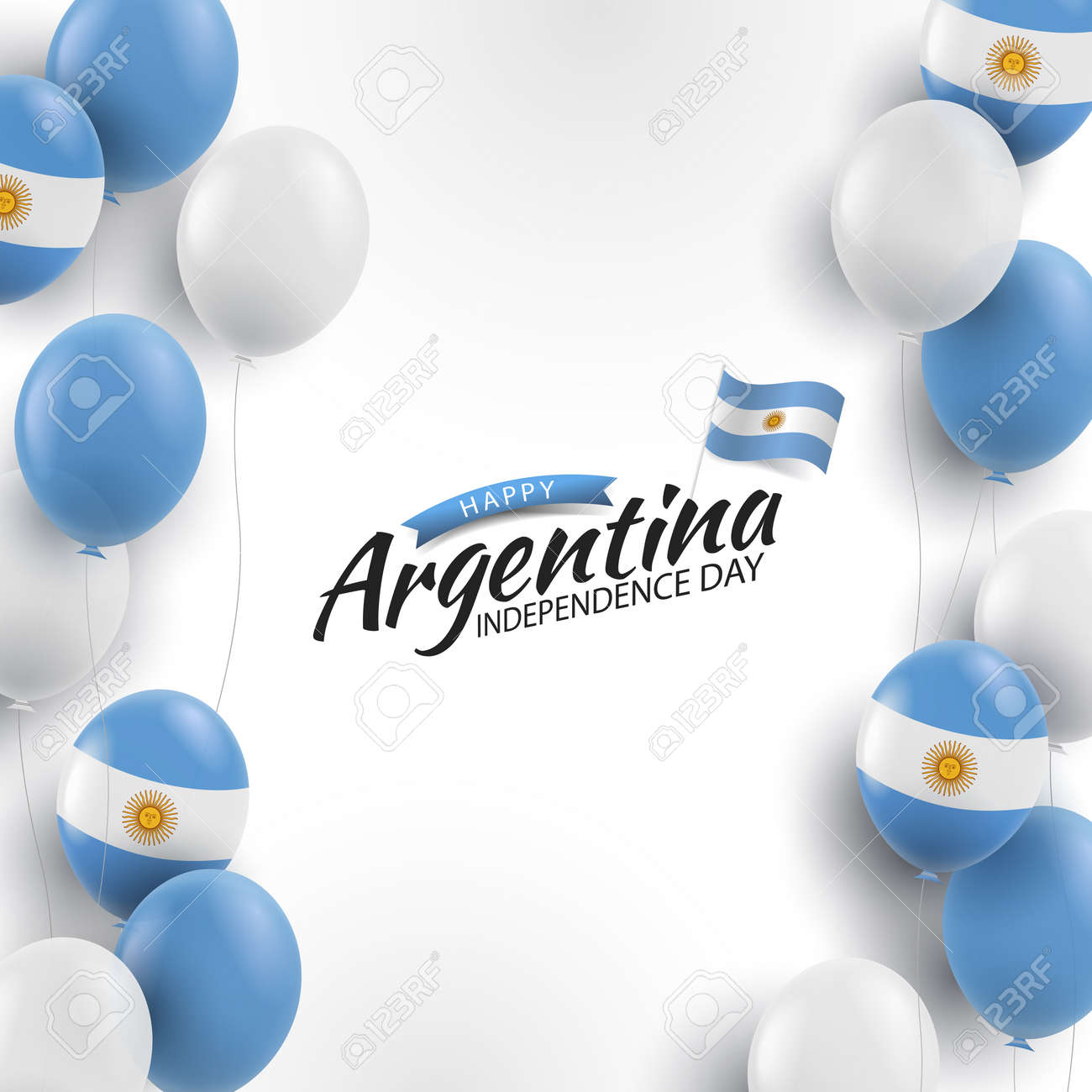 Vector Illustration of Independence Day of Argentina. Background with balloons - 169318188