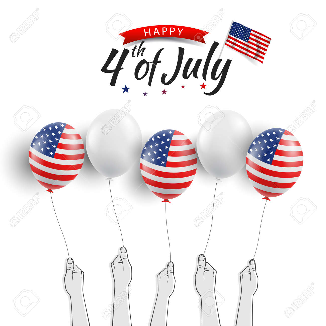 Vector illustration of the Fourth of July. Hands with US flag balloons - 170364543