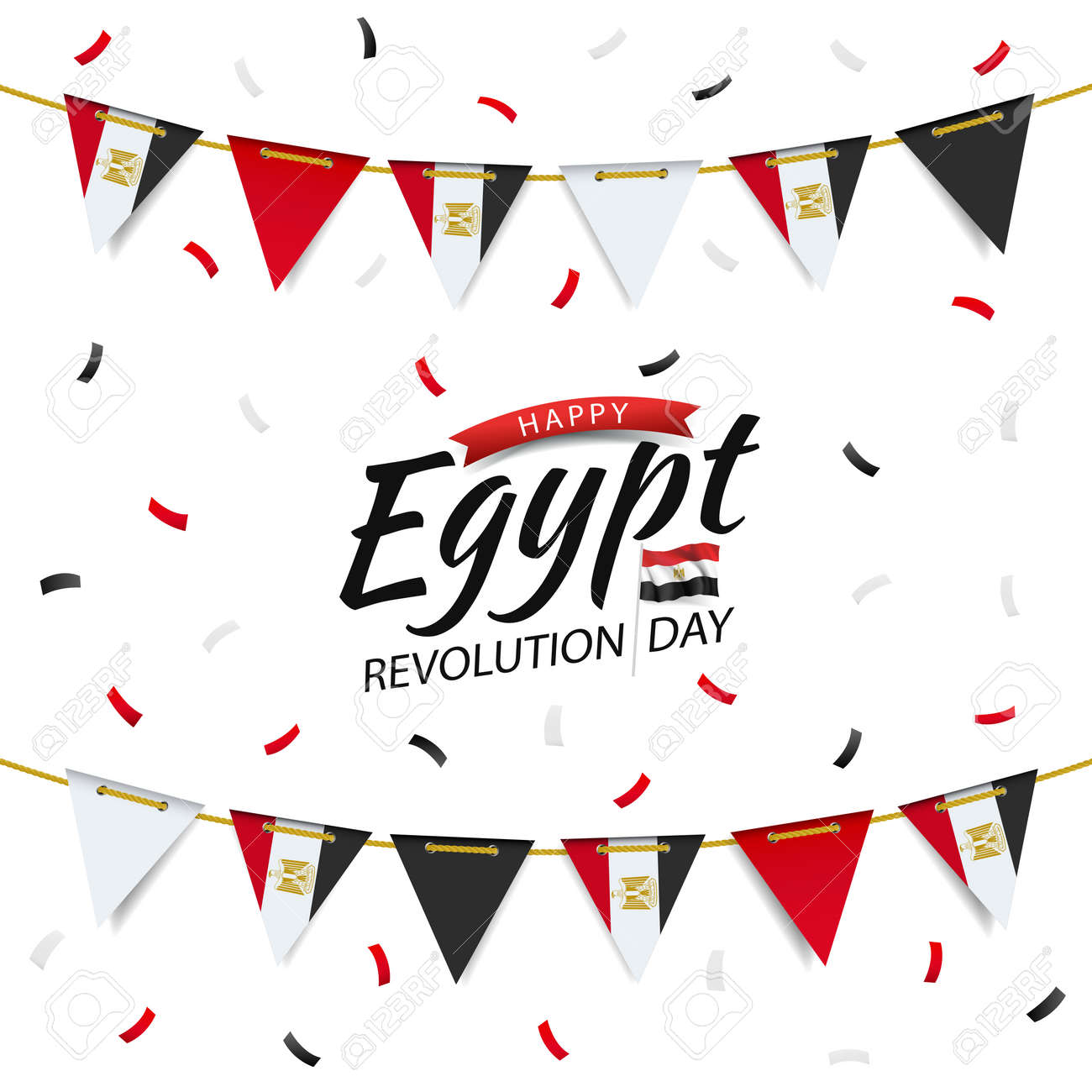 Vector Illustration of Revolution Day Egypt. Garland with the egyptian flag on a white background. - 170364768