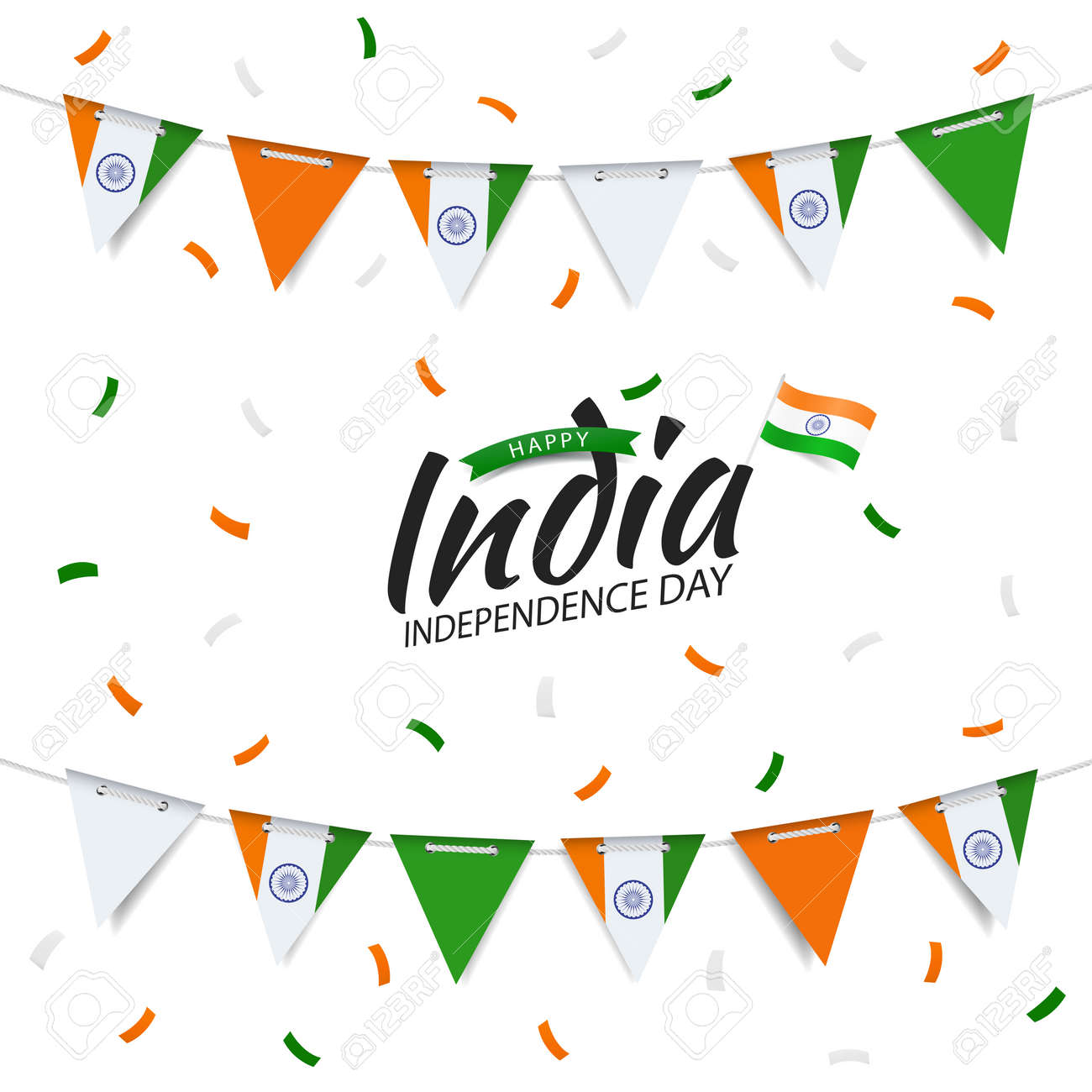 Vector Illustration of India Independence Day. Garland with the flag of India on a white background. - 170744619