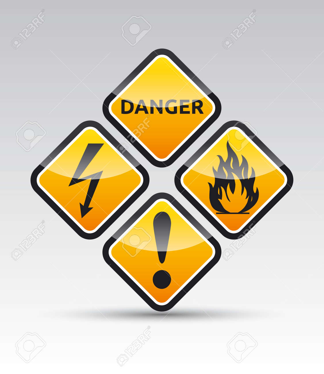 Isolated  orange Danger sign collection with black border, reflection and shadow on white background Stock Vector - 20170621