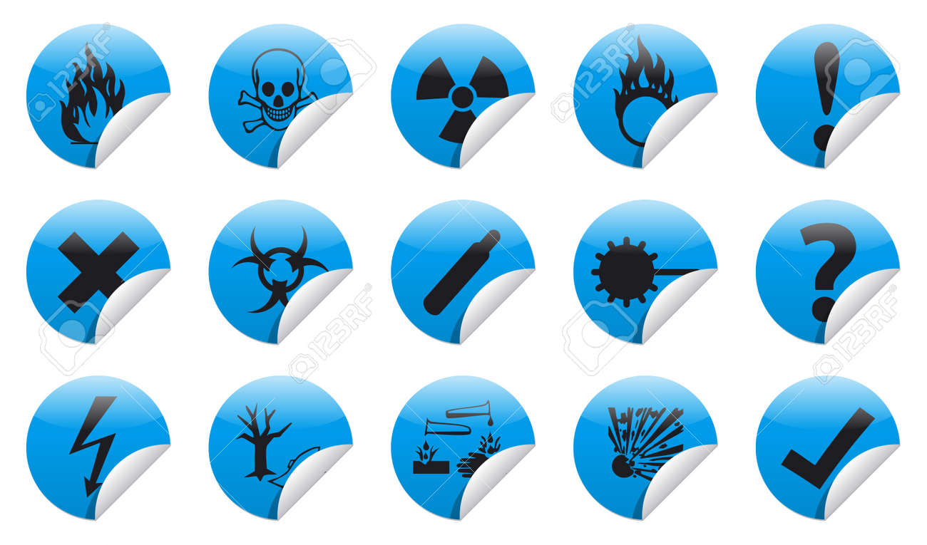 Isolated Danger icon sign collection  set  with shadow on background Stock Photo - 20333094