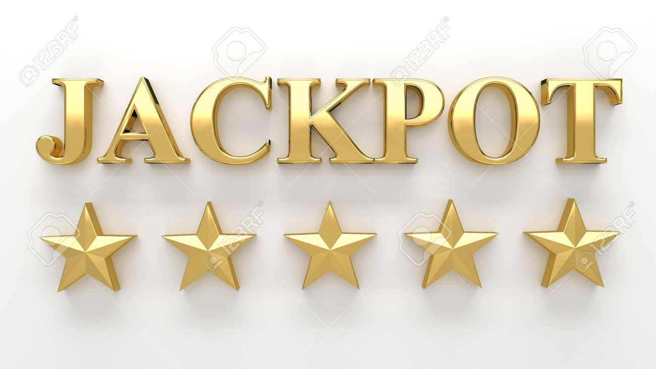 Jackpot With Gold Stars On White Background - High Quality 3D ...