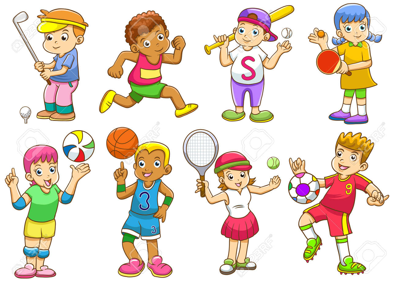 illustration of children playing different sports - 18025056