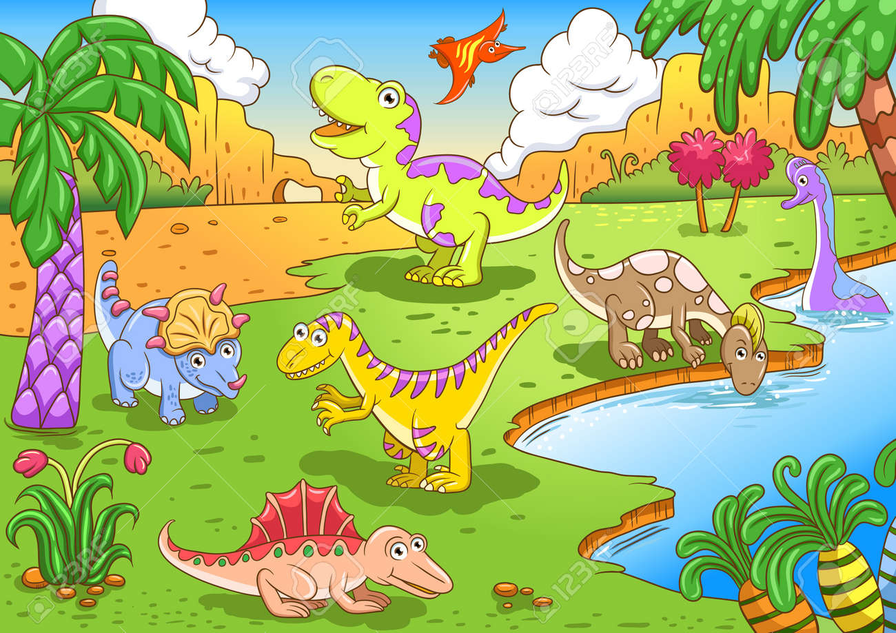 Cute dinosaurs in prehistoric scene File - simple Gradients, no Effects, no mesh, no Transparencies  All in separate  group and layer for easy editing Stock Vector - 18567063