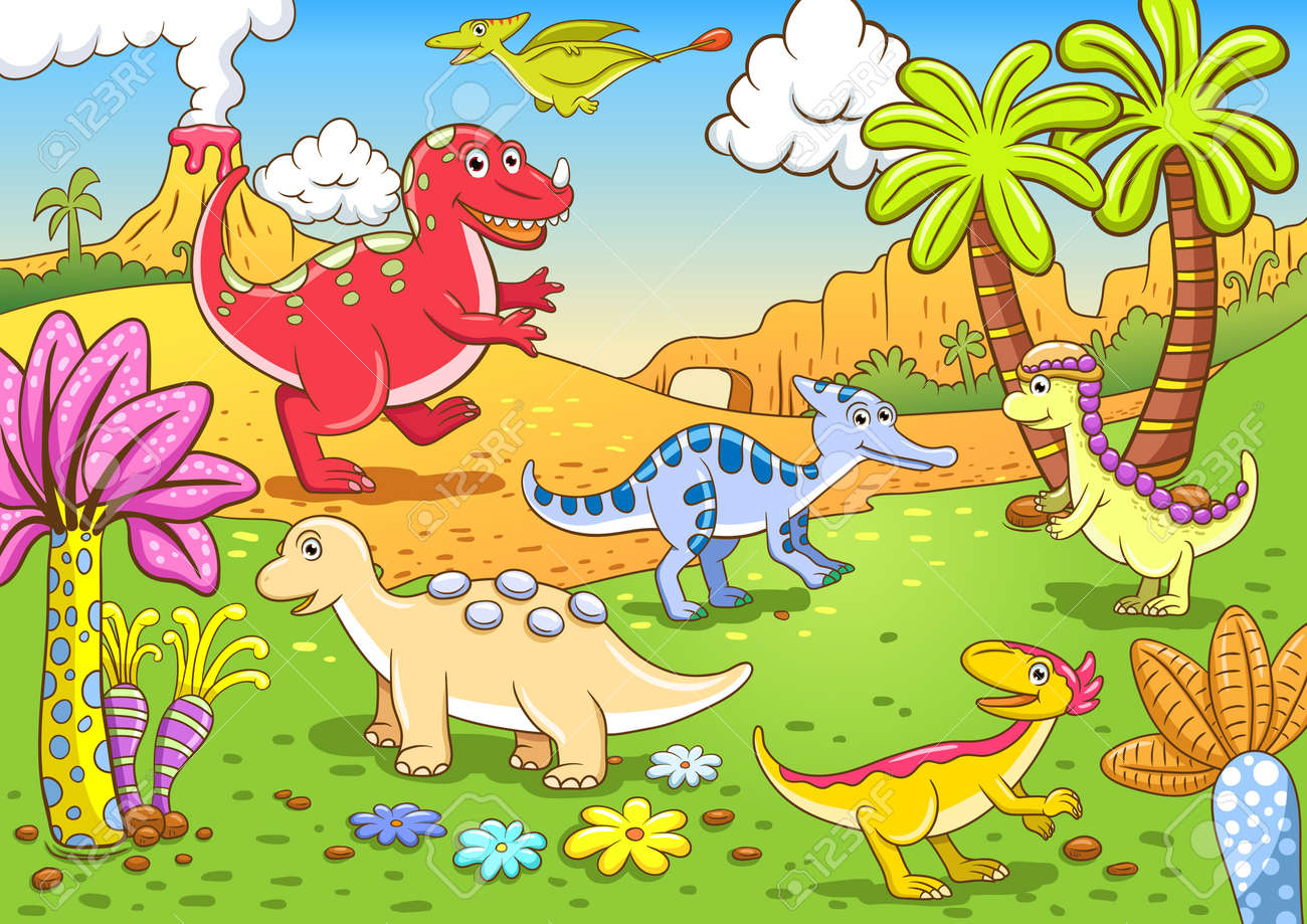 Cute dinosaurs in prehistoric scene EPS10 File - simple Gradients, no Effects, no mesh, no Transparencies  All in separate  group and layer for easy editing Stock Photo - 18684307