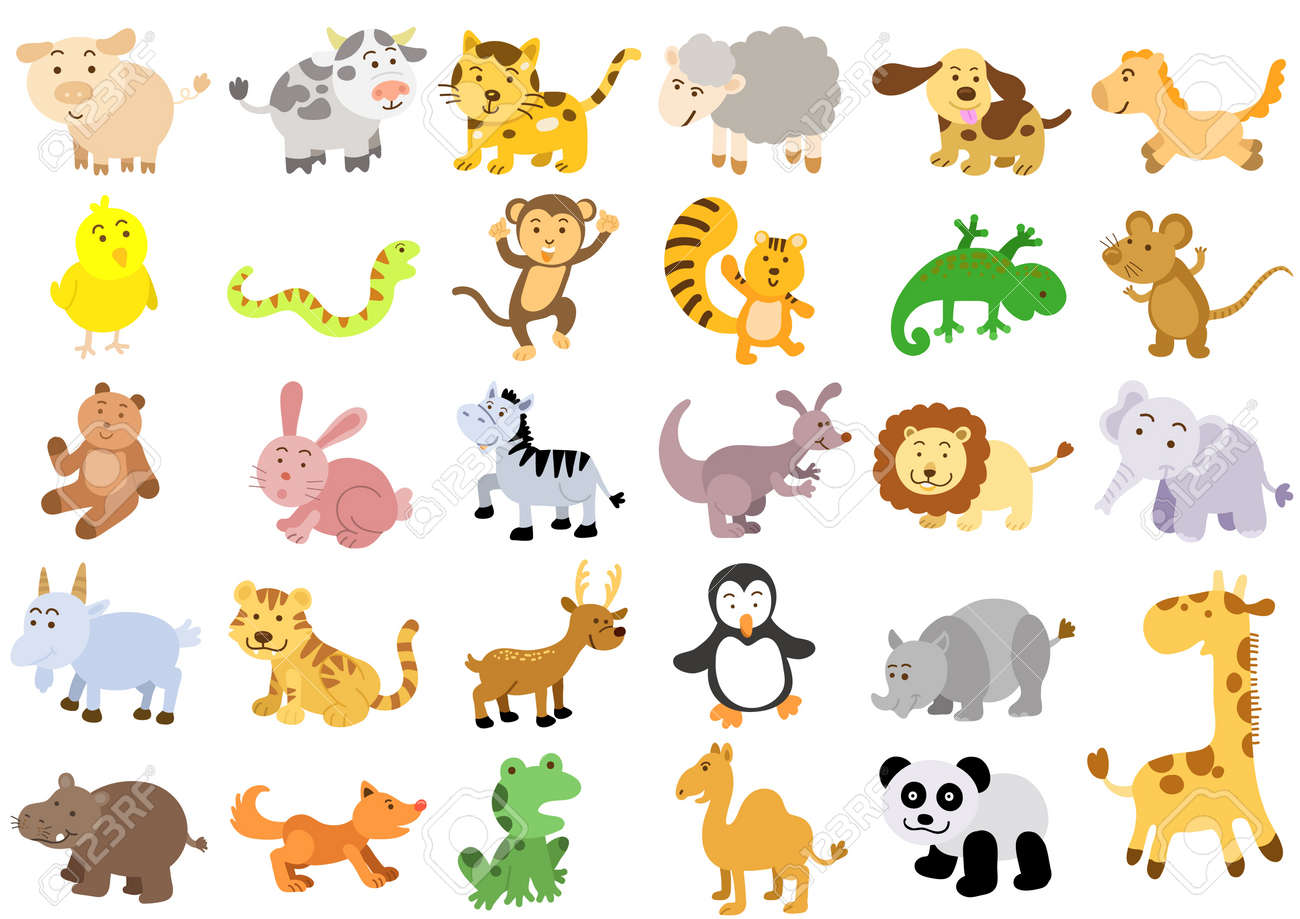 Extra large set of animals File - simple Gradients, no Effects, no mesh, no Transparencies All in separate group for easy editing - 19973471