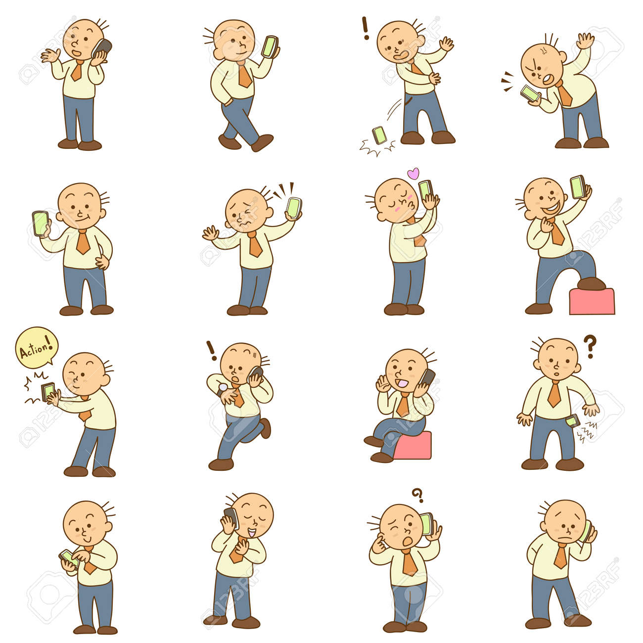 Set Of Funny Cartoon Man And Mobile Phone Vector Royalty Free Cliparts Vectors And Stock Illustration Image 20883016