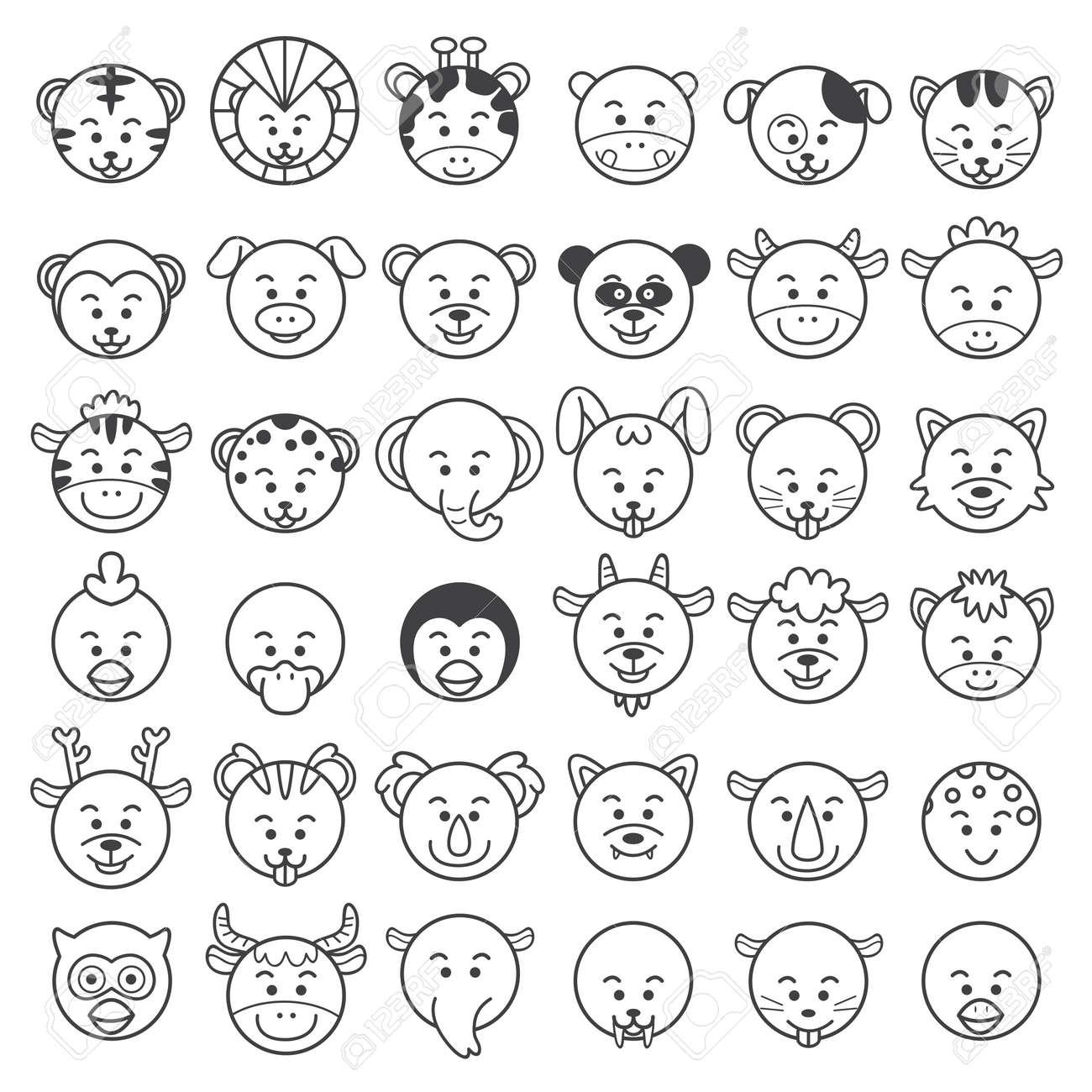 動物の顔のイラスト ロイヤリティフリークリップアート、ベクター