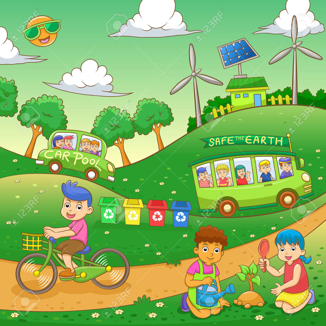 Children Save Our Green World Eps10 File Simple Gradients Royalty