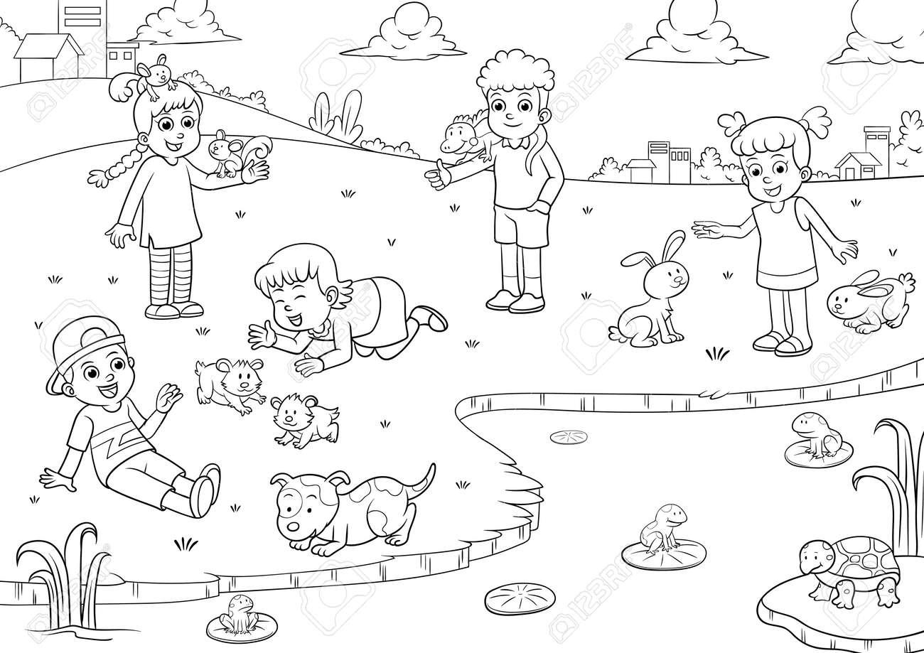 De Dibujos Animados Niños Y Mascotas Para Colorear