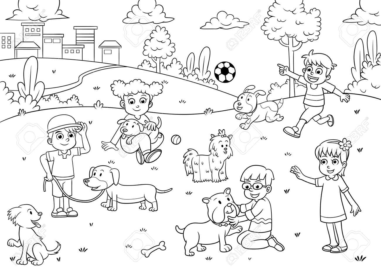 De Dibujos Animados Nino Y El Perro Para Colorear Ilustraciones