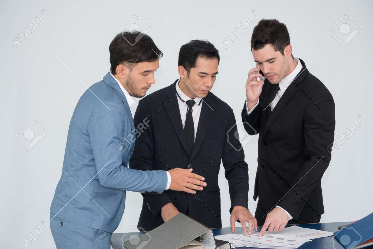 Businessman Group Meeting Discussion About Strategy Brainstorming