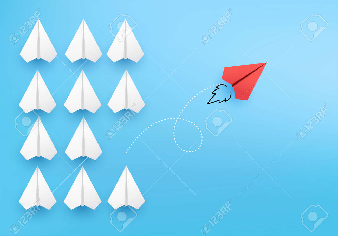 Business creative idea minimal concept on 3D render vector, group of paper plane in one direction, one individual pointing in the different way. Business for new ideas creativity & innovative solution - 157173869
