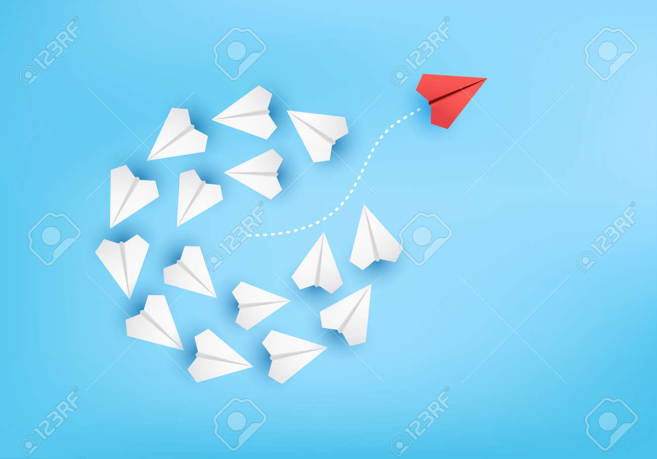 Business creative idea minimal concept on 3D render vector, group of paper plane in one direction, one individual pointing in the different way. Business for new ideas creativity & innovative solution - 153985716