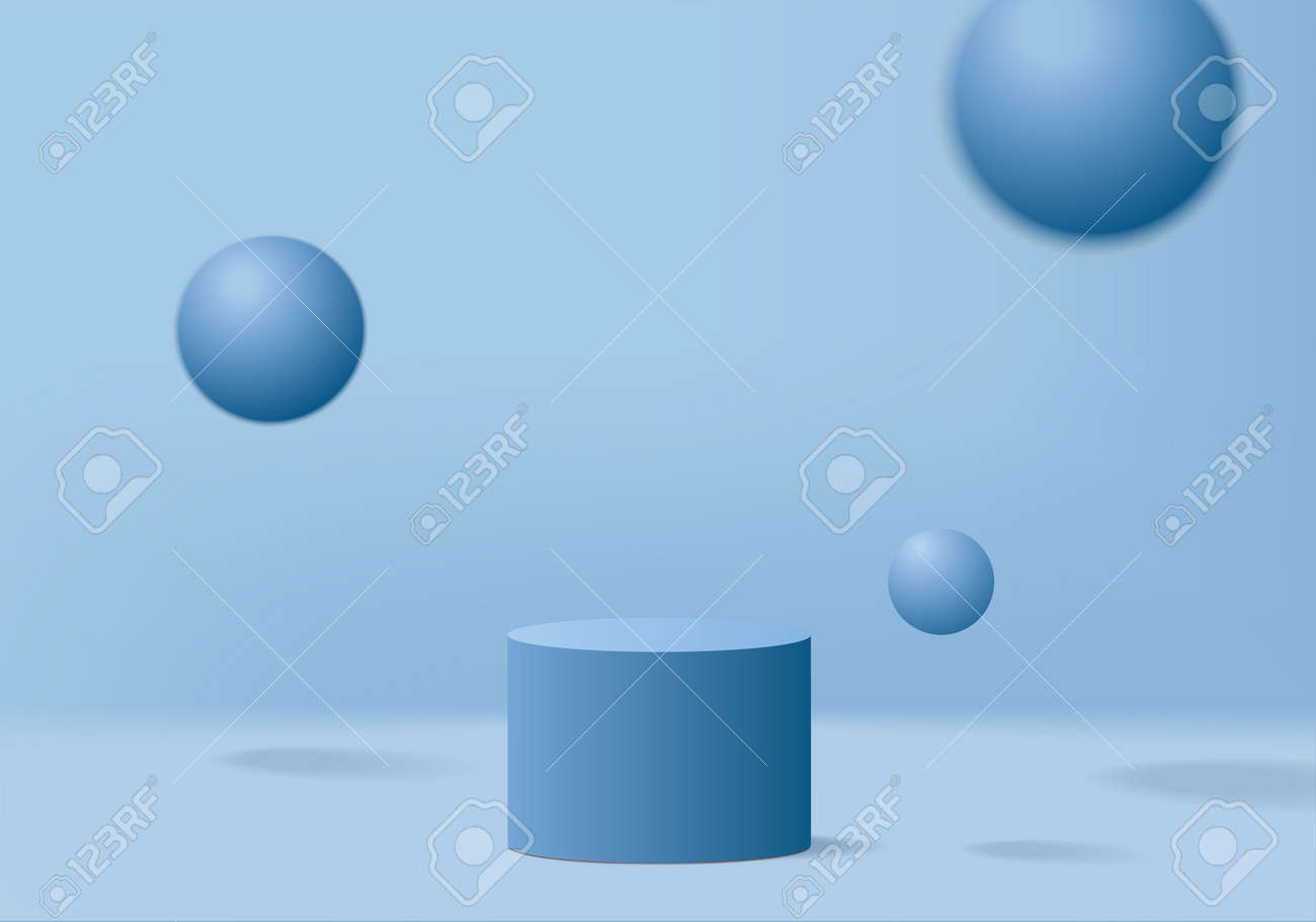 3d display product abstract minimal scene with geometric podium platform. cylinder background vector 3d rendering with podium. stand for cosmetic products. Stage showcase on pedestal 3d blue studio - 166196110