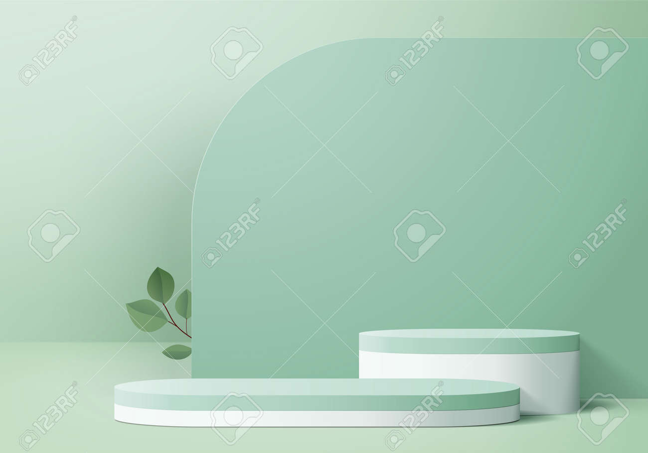 3d display product abstract minimal scene with geometric podium platform. cylinder background vector 3d rendering with podium. stand for cosmetic products. Stage showcase on pedestal 3d green studio - 166194639