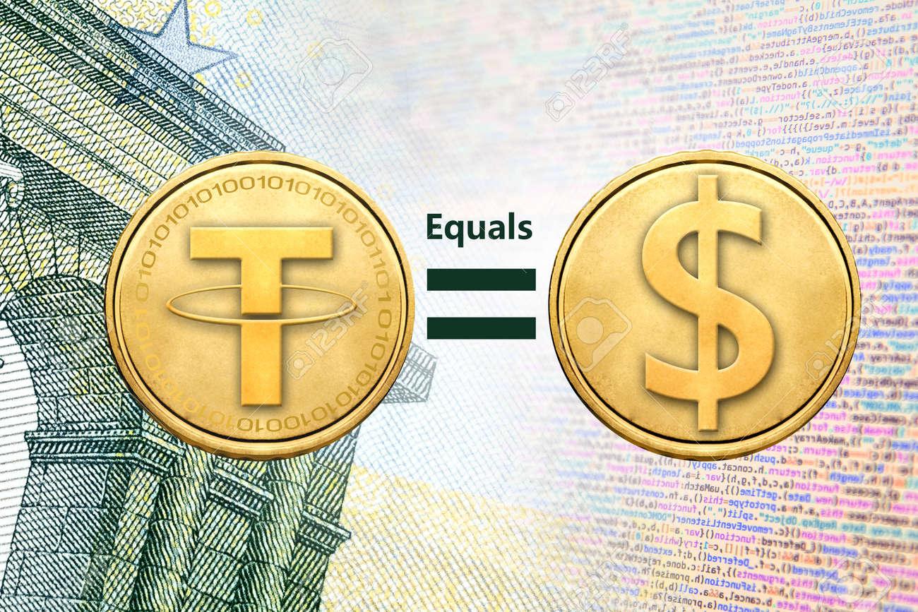 Le Concept De Tether Ou Usdt Est Egal A 1 Dollar Us Crypto