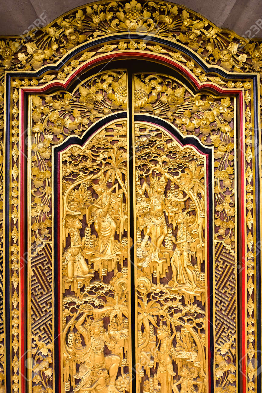 Balinese Carved House Interior, Golden Door Stock Photo, Picture And ...